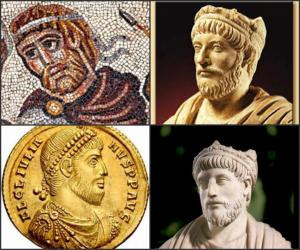Comparazione fra le rappresentazioni artistiche di Giuliano. In alto a sinistra il particolare del mosaico di Huqoq
