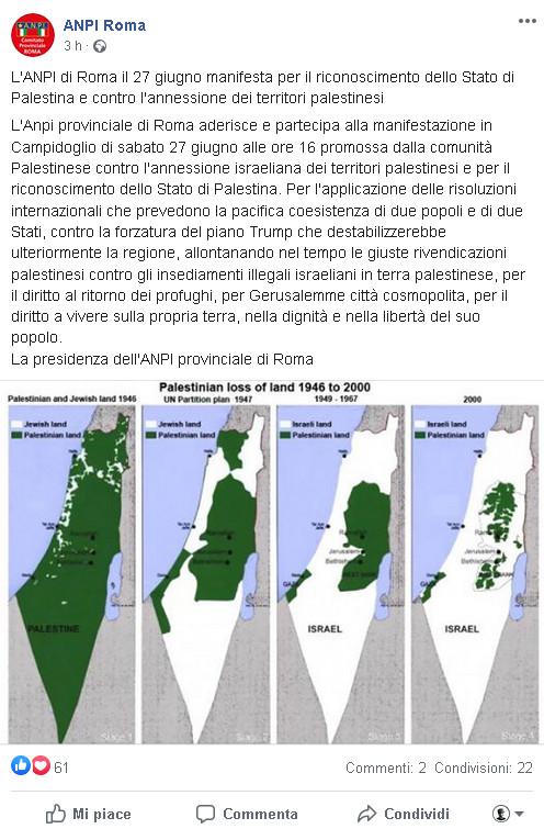 Israele Palestina Cartina.Anpi Roma Diffonde Cartine Fake Su Israele E Cancella I Commenti