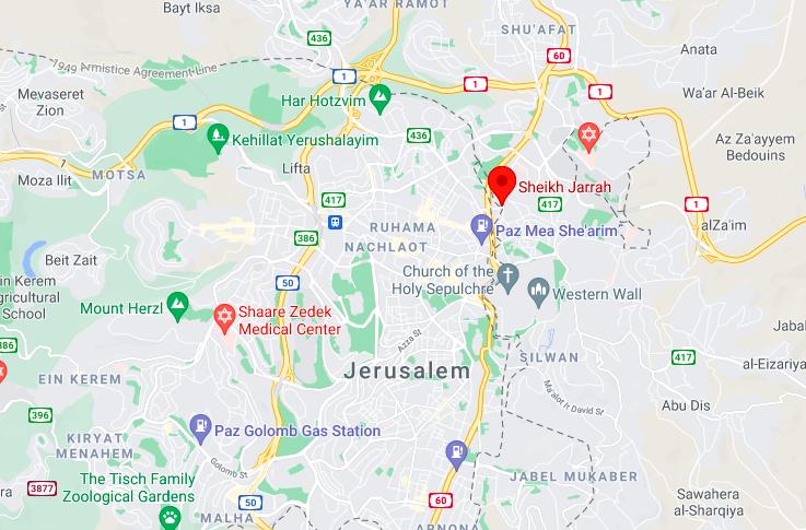 Sheikh Jarrah su google map